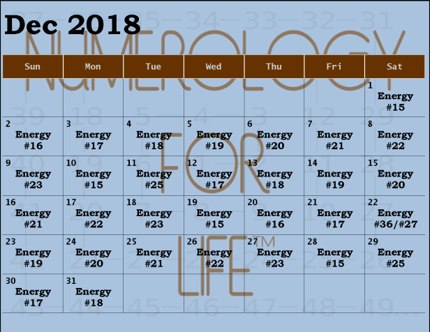 Monthly Calendar 2018 dec