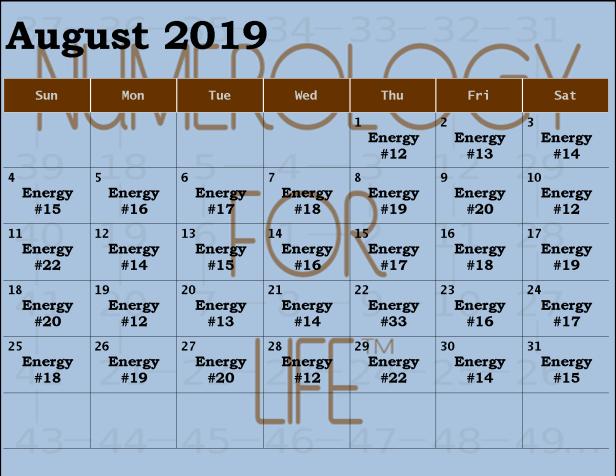 Monthly Calendar Aug 2019