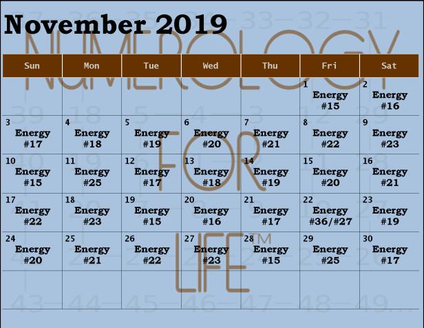 Monthly Calendar November 2019