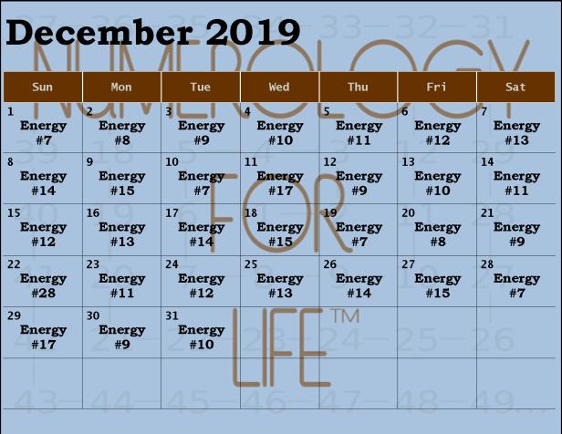 Monthly Calendar Dec 2019