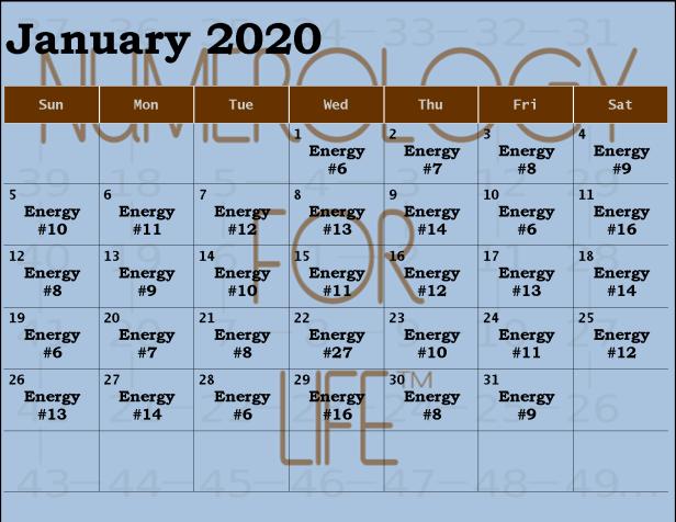 Monthly Calendar Jan 2020